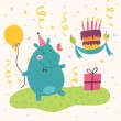 Birthday greeting card with cute hippo — Stock Vector #58865141