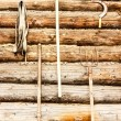 Log wall garden tools — Stock Photo #71055595