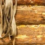 Log wall garden tools — Stock Photo #71055831