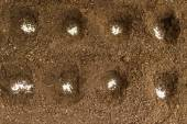 Hole under the seedlings with white granules of mineral fertiliz — Stock Photo