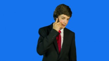 Business Boy Making A Call — Vídeo stock