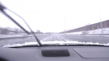Wipers removing wet snow — Stockvideo