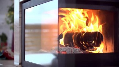 Fireplace in House — Stock Video