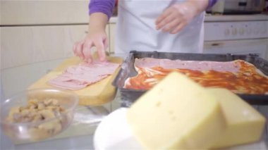 Woman Putting Ham — Stock Video