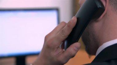 Man taking Telephone Call — Stock Video