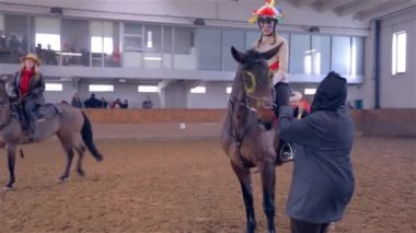 Girl and Horse Receiving Reward — Стоковое видео