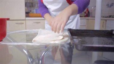 Woman Putting Dough — Stock Video
