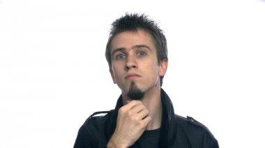Man Checking Beard — Стоковое видео