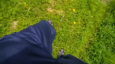 Man Walking on Grass — Stock Video