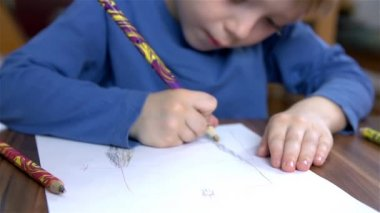 Kid Drawing with Crayons — Stock Video