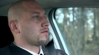 Businessman Driving Car — Stock Video