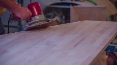 Woodworker preparing office desk — Video Stock