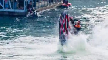 Man Doing Awesome Jet Ski Stunt — Stock Video
