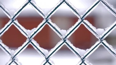 Freezing Fence in Winter — Vídeo stock