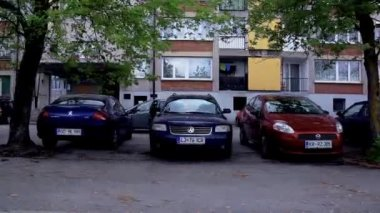 Cars in Front of  Blocks — Stock Video