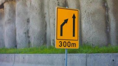 Narrowing Traffic Sign — Stock Video