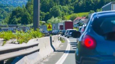 Traffic Jam Moving Slowly — Stock Video