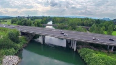 Vehicles driving  on highway bridge — Stock Video
