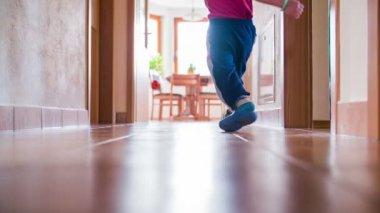 Boy kicking small red ball — 图库视频影像