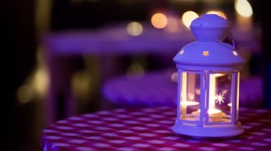 Lantern with candle — Stock Video