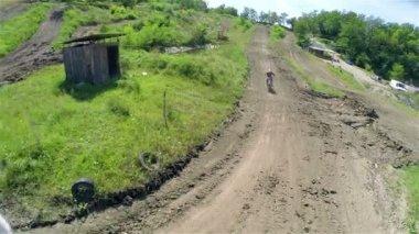 Motocross racer cornering — Стоковое видео