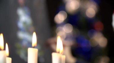 Candlesticks on Christmastime — Stock Video