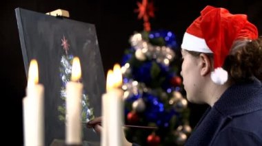 Artista che lavora su Natale — Video Stock