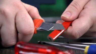 Sharpening a pencil in slow motion — Wideo stockowe