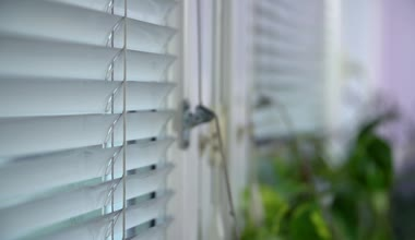 White Blinds On Window — Stock Video