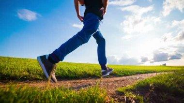 Man  Running At Sunset — Stock Video