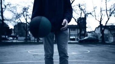 Boy Tapping Basketball Ball — Stock Video