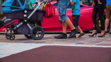 Family with baby in stroller walking in slow motion — Stock Video