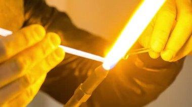 Burning glass close-up. — Stock Video
