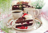 Piece of fresh homemade Black Forest cake — Stock Photo
