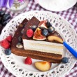 Piece of chocolate cake with cream and fresh fruit — Stock Photo #57290755