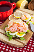 Fresh sandwich with shrimp and egg — Stock Photo