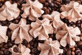 Chocolate meringues on coffee beans  — Stock Photo