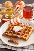 Apple waffles for breakfast — ストック写真