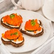Romantic breakfast-toasts  with red caviar and coffee — Stock Photo #63694381