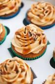 Boxed caramel cupcakes set — Stock Photo