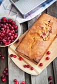 Delicious fresh homemade cranberry loaf  — Stock Photo