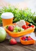 Lunch box with sandwich, cookies, veggies and fruits — Stock Photo