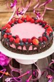 Heerlijke frambozen cheesecake — Stockfoto