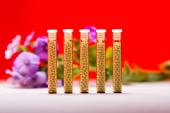 Five small glass tubes with homeopathy globules, red background — Stock Photo