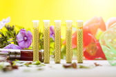 Small glass tubes with homeopathy globules, syringe and flowers — Stock Photo