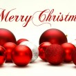 Christmas Decorative Bulbs Scattered with Text Merry Christmas — Stock Photo #53265679