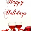 Red Wine and Christmas Decorations with Words Happy Holidays — Stock Photo #53266843