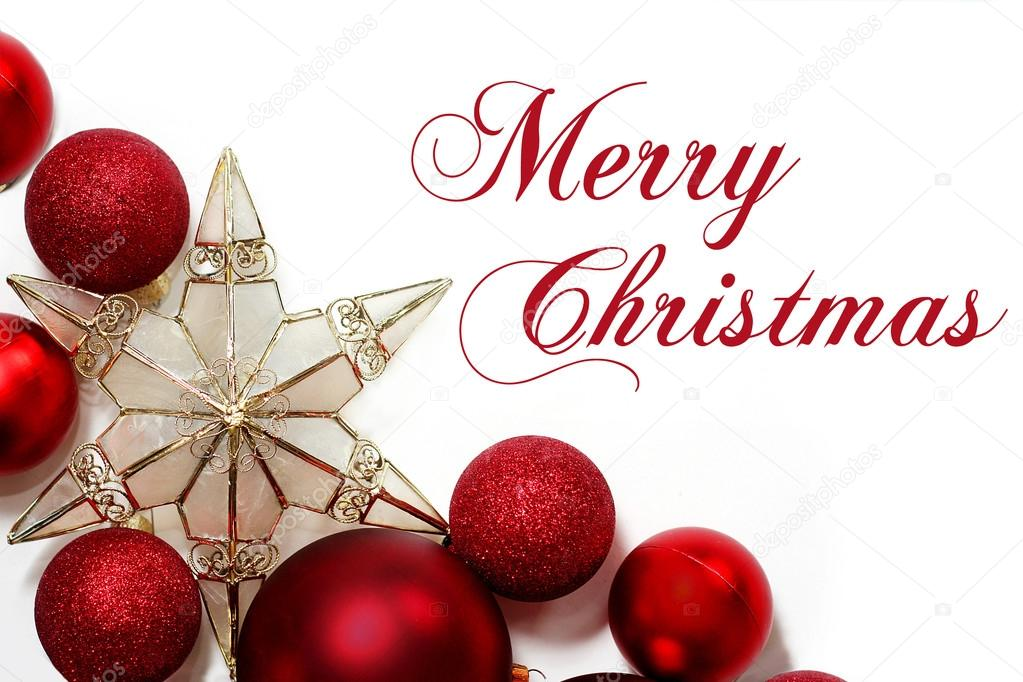 Merry Christmas Sign with Ornaments Border — Stock Photo ...