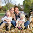 Happy Family and Pet Dog Autumn Portrait — Stock Photo #56431457
