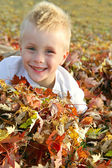 Happy Young Child Jumping in Pile of Fall Leaves — Stock Photo